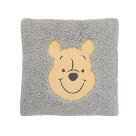 Disney Winnie the Pooh Grey and Yellow Plush Appliqued Decorative Sherpa Pillow