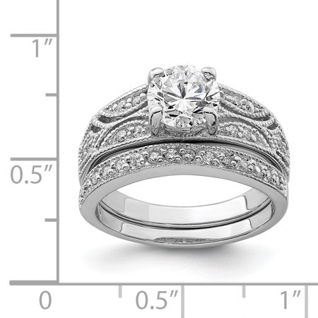 925 Sterling Silver Rhodium Plated 2 Piece Cubic Zirconia Wedding Set Ring