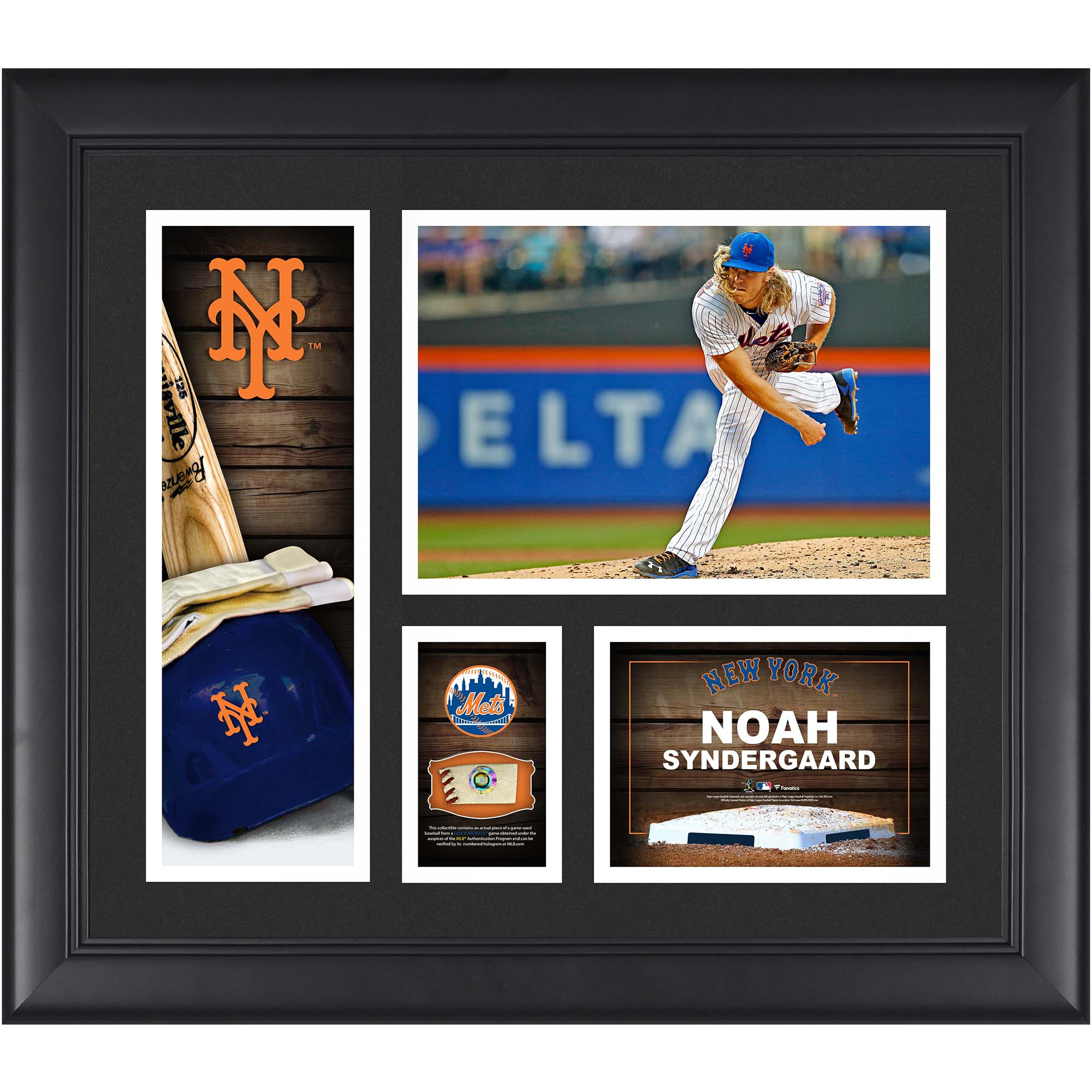 """Noah Syndergaard New York Mets Fanatics Authentic Framed 15"""" x 17"""" Player Collage with a Piece of Game-Used Ball - No Size"""