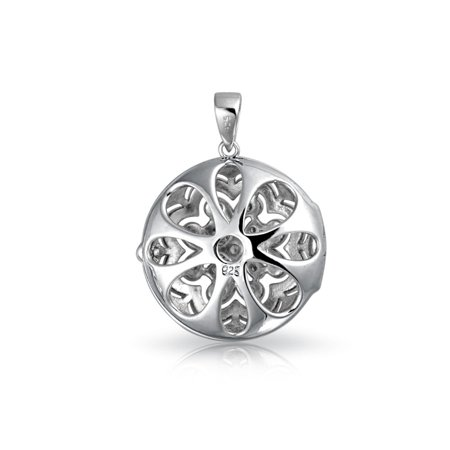 Vintage Style Small Round Flower CZ Accent Heart Pendant Necklace Locket For Women For Teen 925 Sterling Silver - image 4 de 5