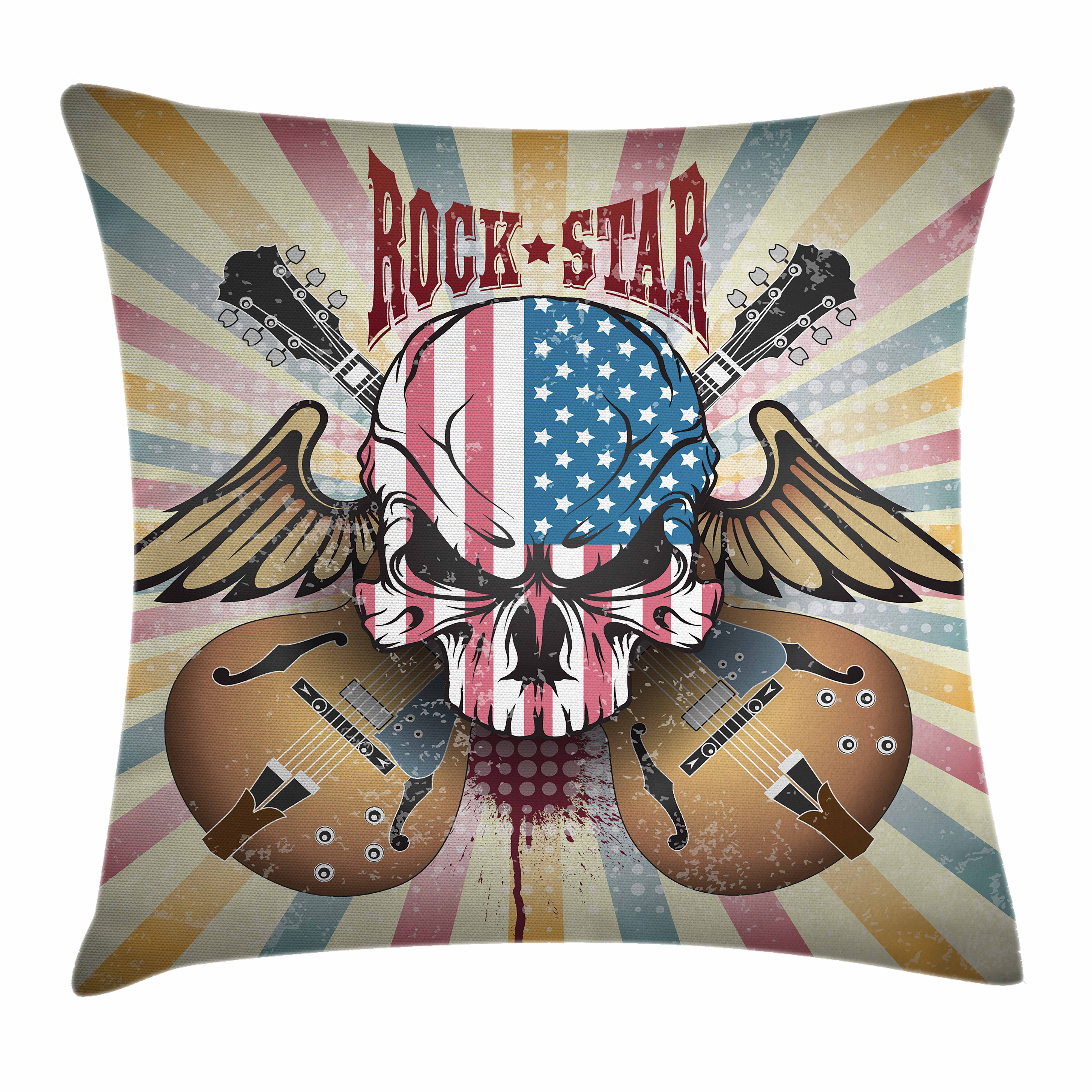 Guitar Throw Pillow Cushion Cover, Retro Style Composition Angry Skull American Flag Pattern Wings Electric Guitars, Decorative Square Accent Pillow Case, 20 X 20 Inches, Multicolor, by Ambesonne