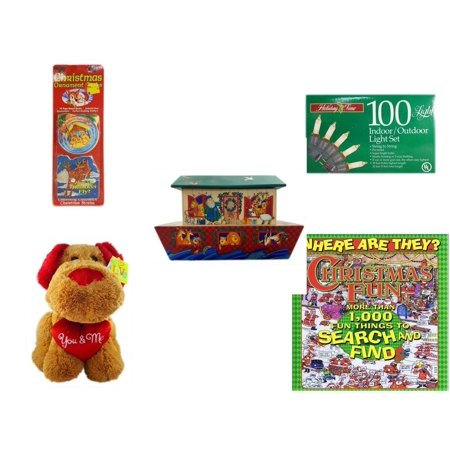 M And N Party Store (Christmas Fun Gift Bundle [5 Piece] - Xmas Ornamentbooks: Grandfather's Nativity, Reindeer -  Time 100 Light Indoor/Outdoor Light Set - Noah's Ark Card Storage Display Box Hallmark - Love)
