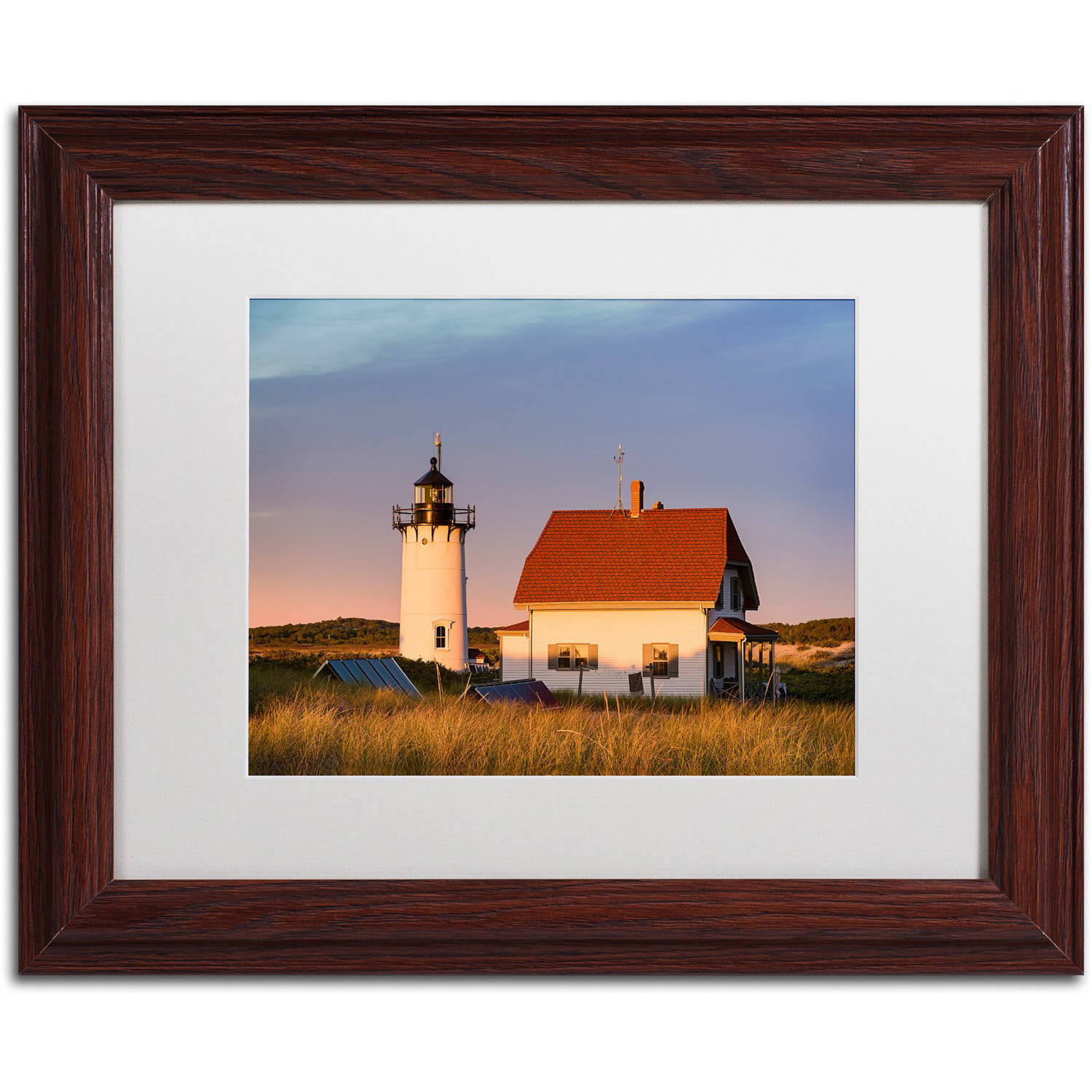 "Trademark Fine Art ""Race Point Sunset"" Canvas Art by Michael Blanchette Photography White Matte, Wood Frame"