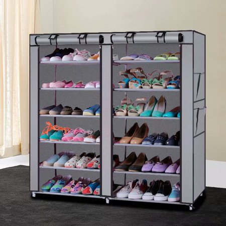 Stackable Shoe Rack - Akoyovwerve 6 Tier Stackable Shoe Self Shoe Rack Organizer with Cover for Closet Shoe Storage Cabinet Gray