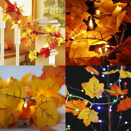 Fall Leaves Garland (Big Saving/Clearance, JLONG 1Pcs Lighted Fall Leaves Garland Party Home Decor, White)