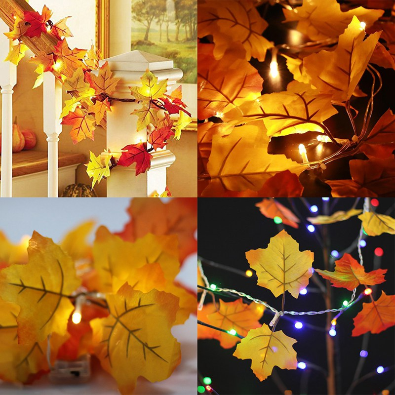 JLONG 1Pcs Lighted Fall Leaves Garland Party Home Decor, White Light