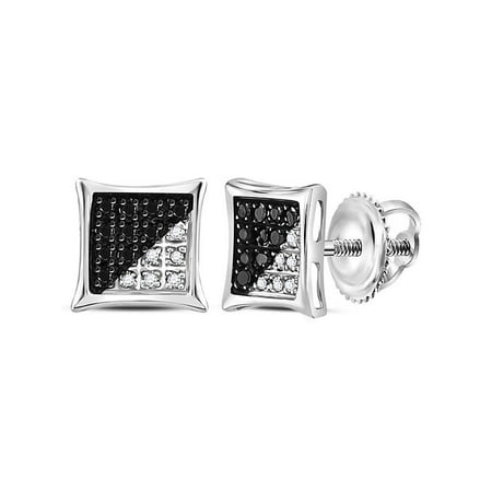 Sterling Silver Mens Round Black Color Enhanced Diamond Square Kite Earrings 1/10 Cttw