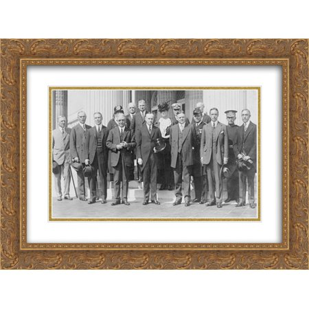 President Coolidge and Herbert Hoover posed, standing, with American Red Cross group 24x16 Double Matted Gold Ornate Framed Art Print