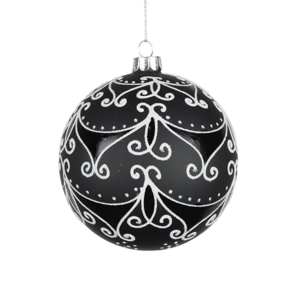 "Vickerman 506974 - 4"" Black Matte/White Swirls Glass Ball Christmas Tree Ornament (E170901)"