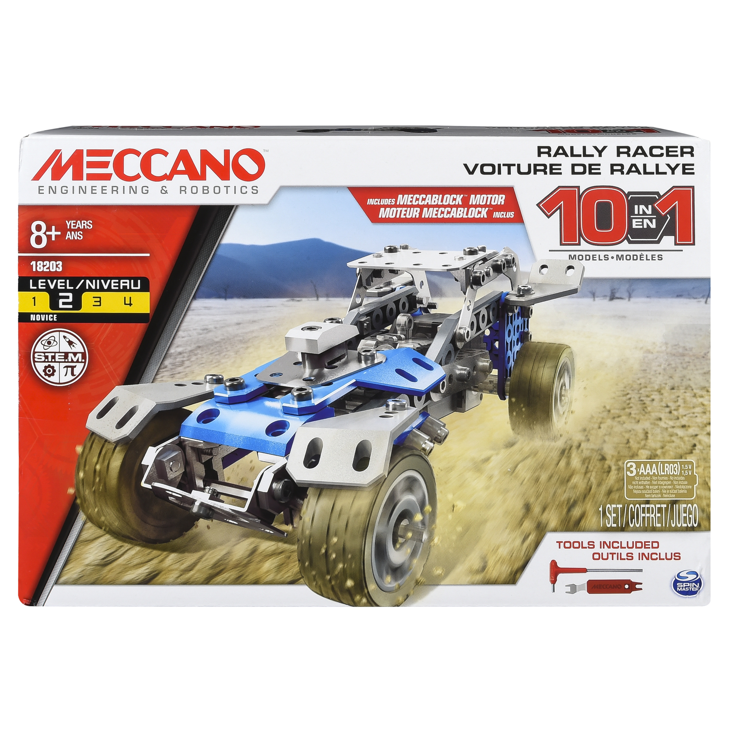 Erector by Meccano, 10 in 1 Rally Racer Model Vehicle Building Kit, for Ages 8 and up, STEM Construction Education Toy