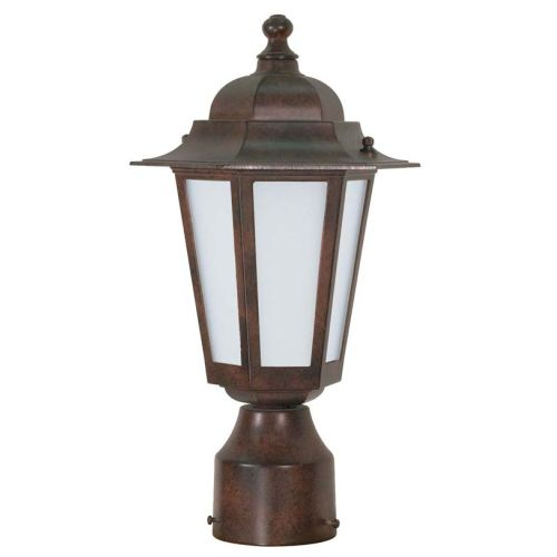 1 Light 14 in. CFL Post Lantern Satin White Glass by Supplier Generic