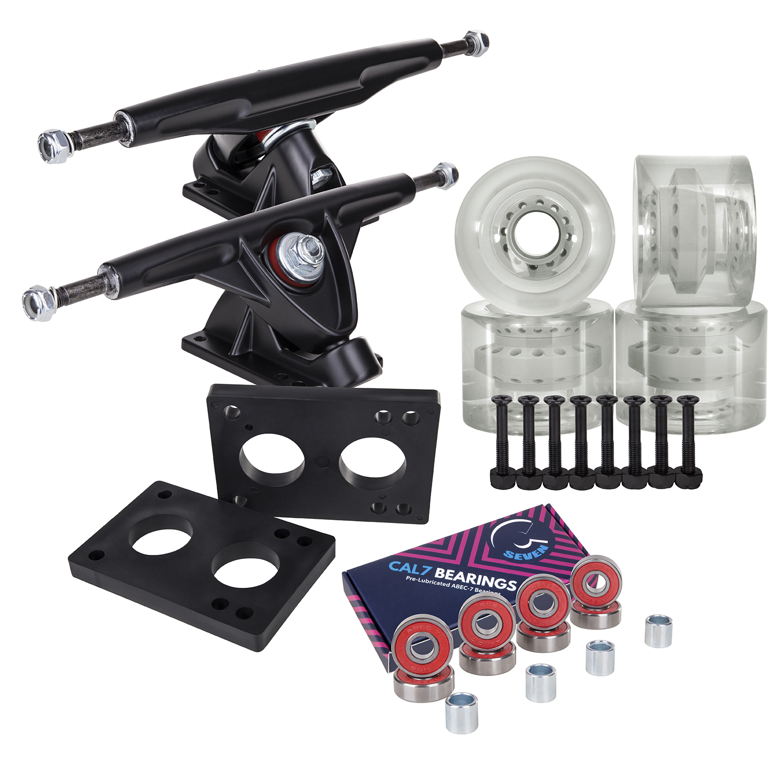 Cal 7 Longboard Skateboard Combo Package with 70mm Wheels & 180mm Lightweight Aluminum Trucks, Bearings... by Cal 7