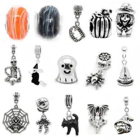 Ten (10) Random Beads of Halloween Charm Set for snake Chain charm bracelets