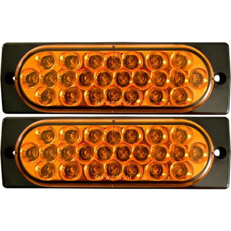 "2x Surface Mount Amber LED Strobe Lights 6"" Oval Strobe Lights"