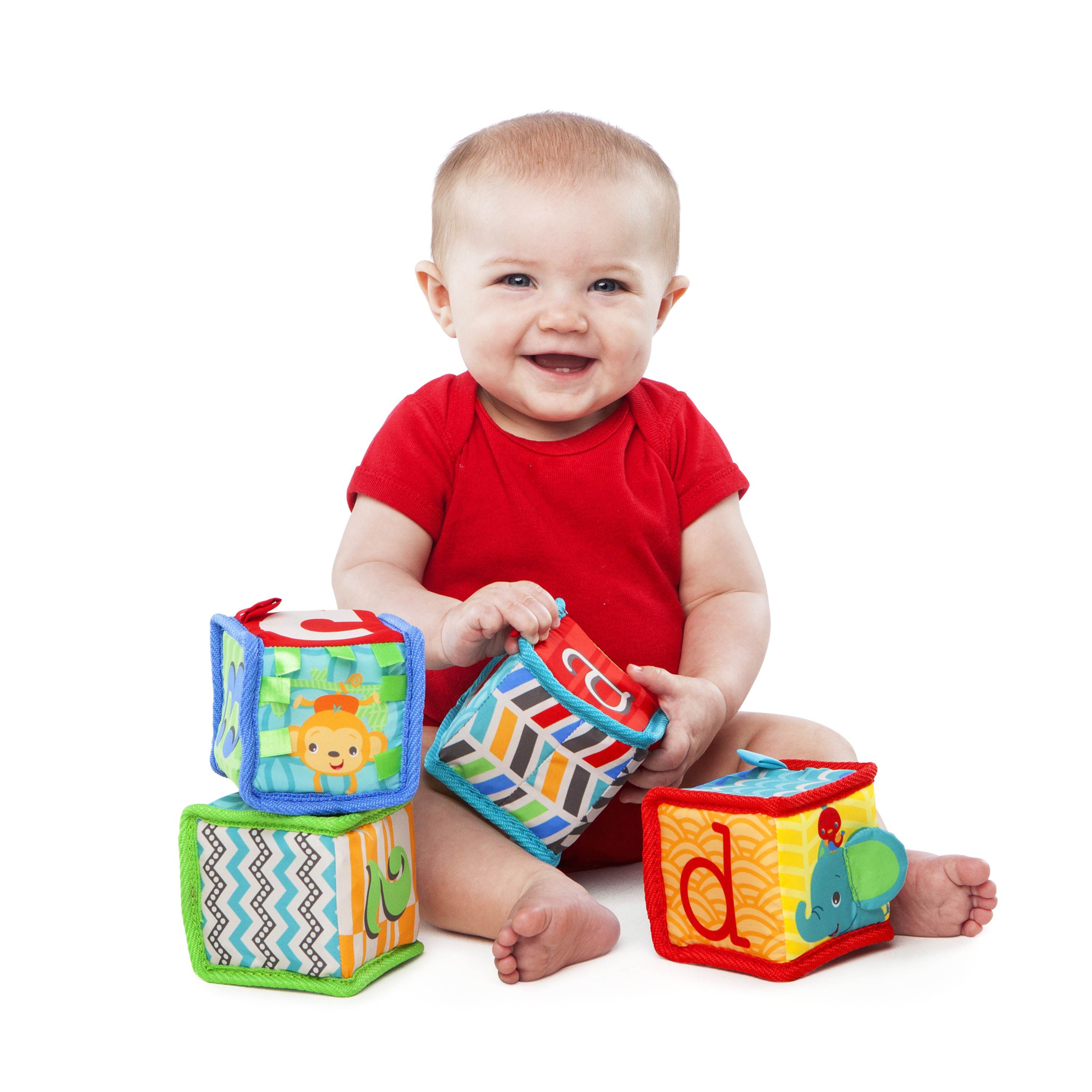 Grab and Stack Block Toy Bright Starts 4 Soft Blocks for Babies Ages 3 Months Up