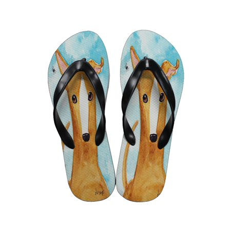 4e7070368546a KuzmarK™ - KuzmarK Flip Flop Thong Sandals Unisex - Fawn Greyhound The Fly  Dog Art by Denise Every - Walmart.com