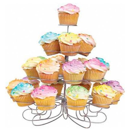 CHARMED 23 CUPS 4 TIERS CUPCAKE DESSERT STAND SILVER](3 Tier Cupcake Stand)