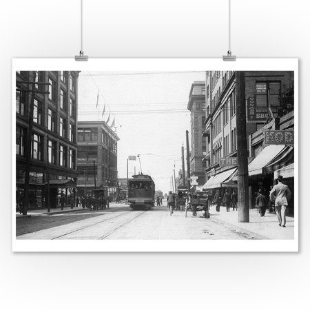 Seattle  Washington   Western View Of Pike Street From Third Ave  9X12 Art Print  Wall Decor Travel Poster
