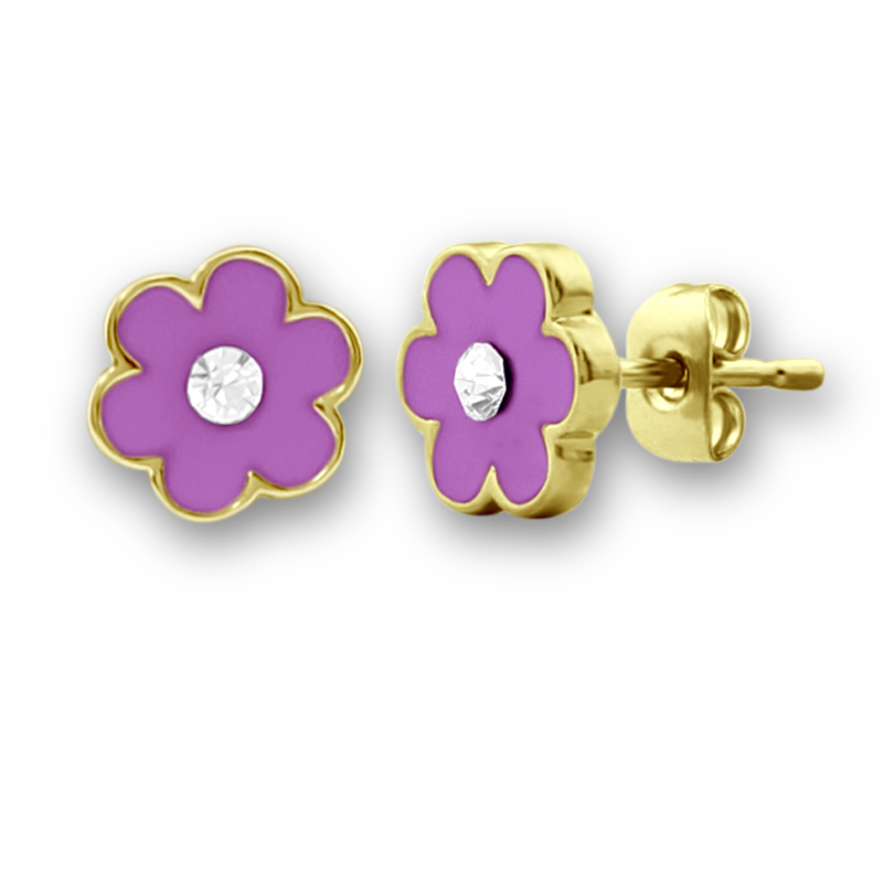 A Touch Of Dazzle Purple Flower Girls Stud Earrings Kids