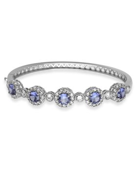 Simulated Tanzanite Silver-Tone Bangle