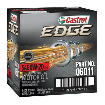 Castrol Edge 0W20 Motor Oil  1 Qt  6 Pack