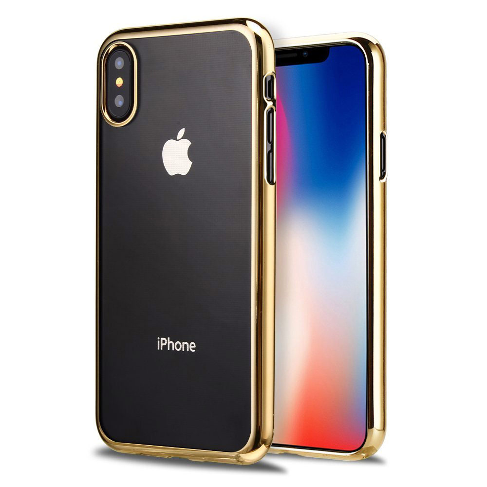 MUNDAZE Gold Electroplate Framed TPU Case For Apple iPhone X Phone