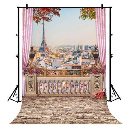 GCKG 7x5ft Viewing deck Paris Eiffel Tower Polyester Photography Backdrop Studio Prop Photo Background - image 1 of 4