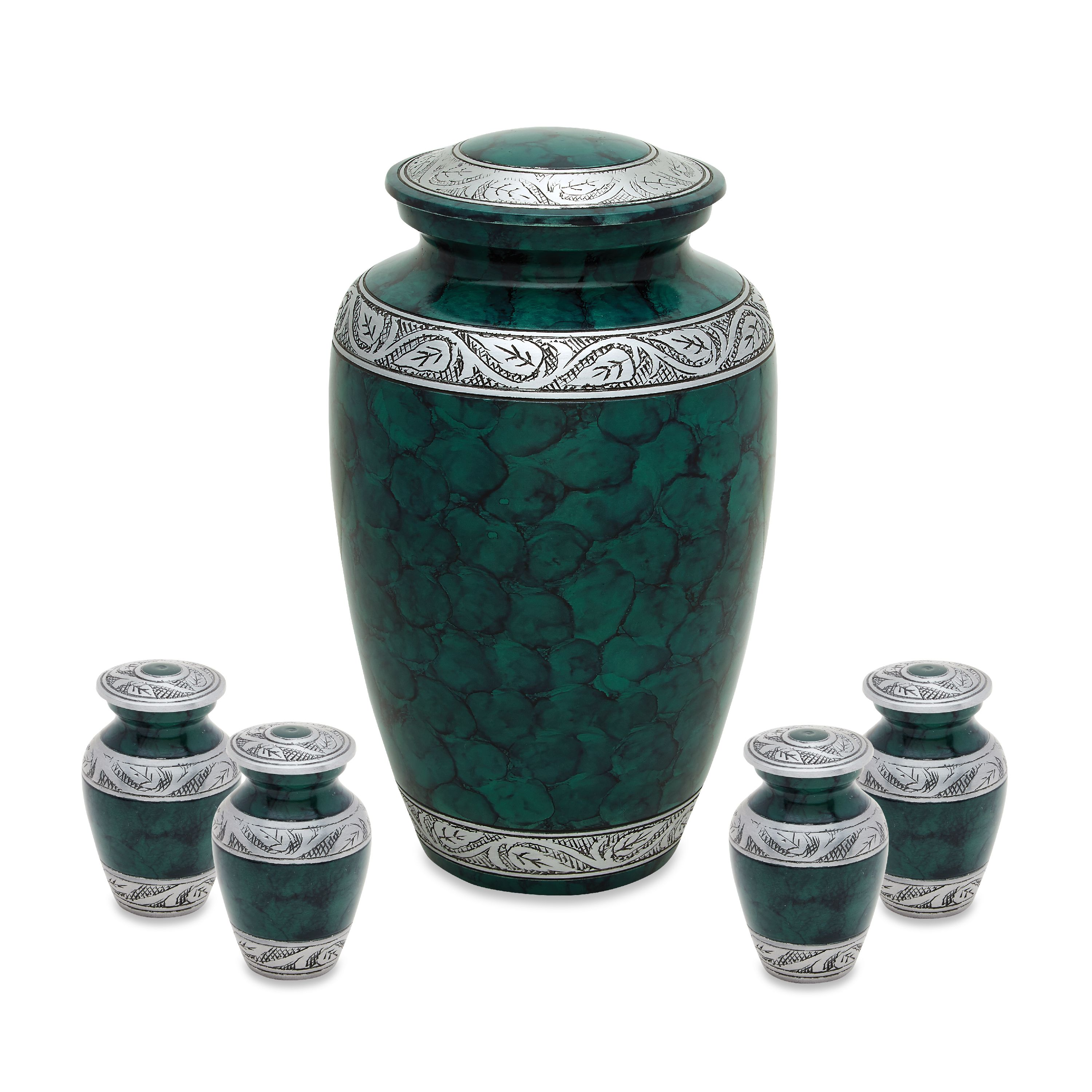 Urnsdirect2u Cloudy Green Adult Urn with 4 Tokens