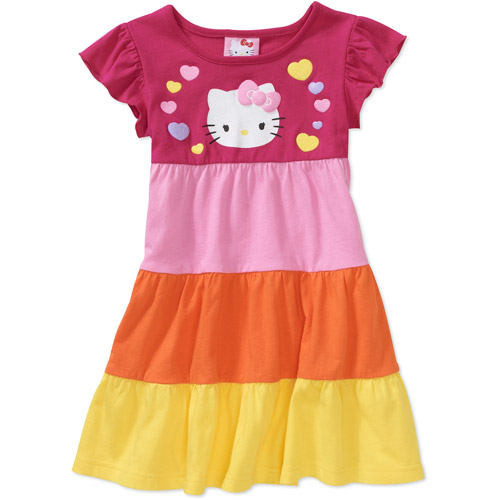 Hello Kitty Baby Girls' Colorblock Tiered Dress