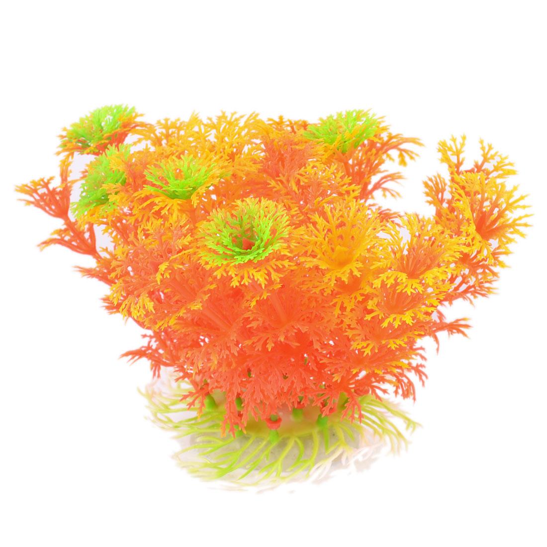 """Unique Bargains Aquarium Red Green Yellow Thin Leaf Underwater Plastic Grass Decor 4.3"""" High"""