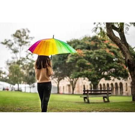 LAMINATED POSTER Campus Bench Girl Melancholy Rain Umbrella Poster Print 24 x 36