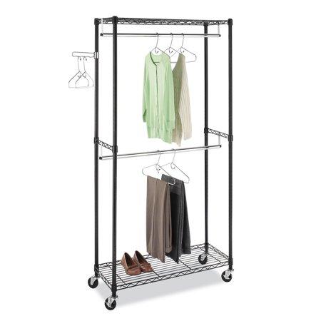 Supreme Double Rod Garment Rack, Black & Chrome with Wheels