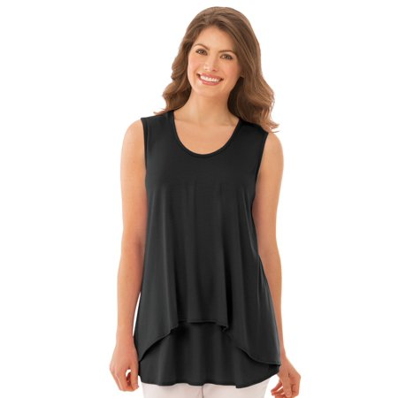 - Women's Double Tier Layered Sleeveless Tank Top, Figure Flattering and Loose Fit, Large, Black - Made in the USA