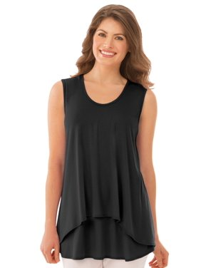 fb4d06fbc Product Image Women's Double Tier Layered Sleeveless Tank Top, Figure  Flattering and Loose Fit, Large,
