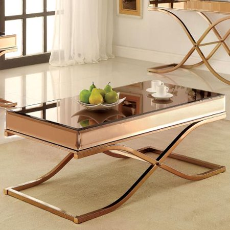 Furniture Of America Laja Contemporary Gold Metal Coffee Table