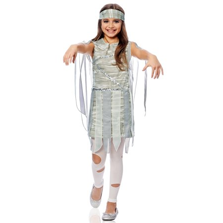 Mummy Dead Egyptian Girls Child Dress Halloween Creature Costume