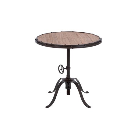 Decmode 30 Inch Industrial Riveted Iron and Fir Wood Round Table, (30 Inch Round Decorator Table Wood Composite)