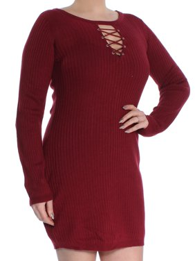 2c964a04c2b2 Product Image PLANET GOLD Womens Burgundy Ribbed Long Sleeve Keyhole Mini  Body Con Wear To Work Dress Juniors