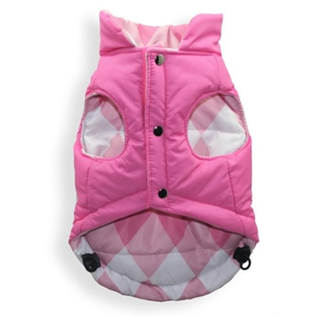 Hip Doggie HD-5RPVPA-L Large Reversible Puffer Vest - Pink Argyle