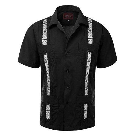Maximos Men's Guayabera Two Tone Cuban Beach Wedding Short Sleeve Button Up Casual Dress Shirt Black White