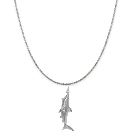 Sterling Silver Shark Charm on a Sterling Silver 18 Rope Chain Necklace - Chain Link Shark Suit