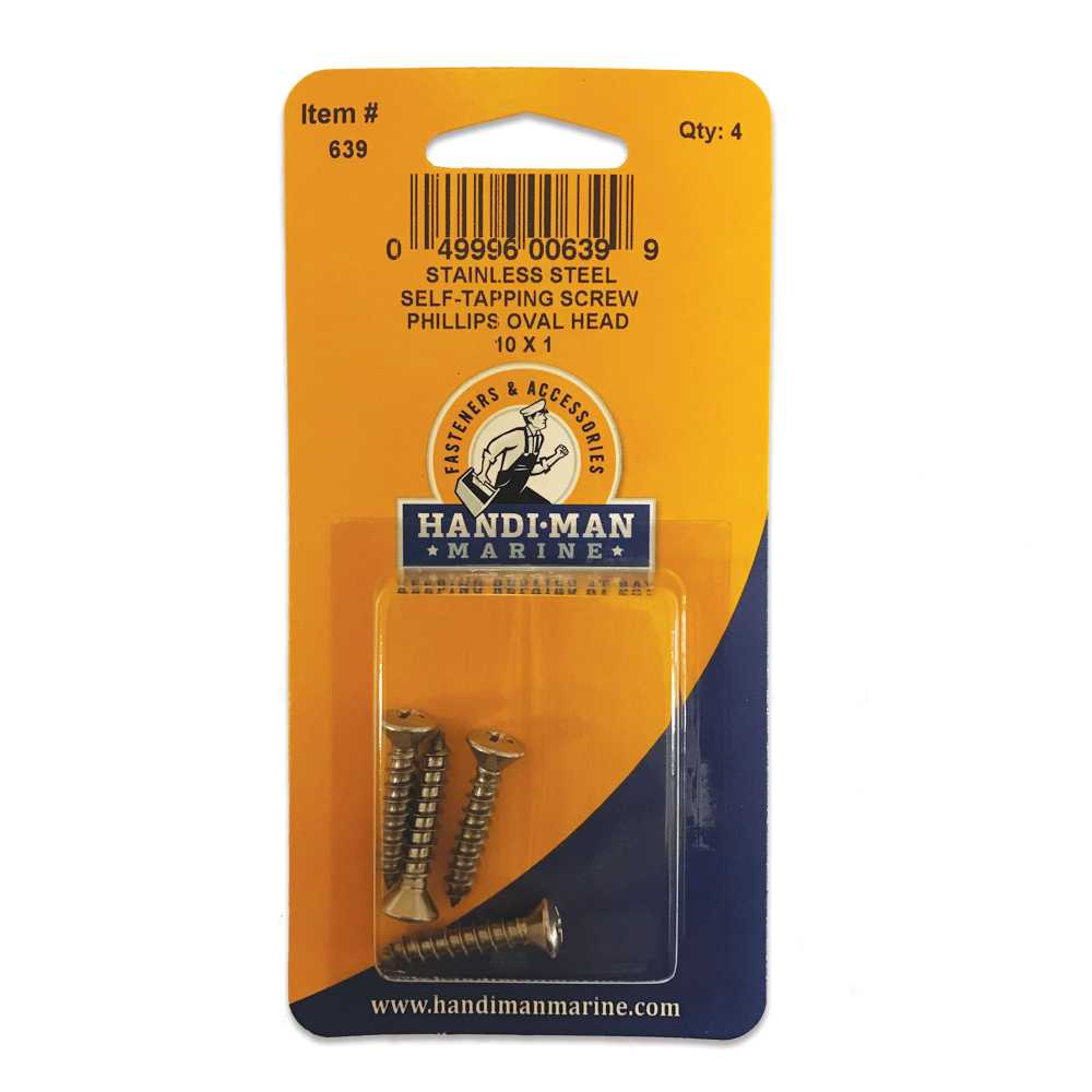 HANDI-MAN PHILLIPS SELF TAPPING OVAL SCREW SS 10 X 1