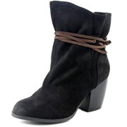 Qupid Maze Women  Round Toe Suede Black Ankle Boot