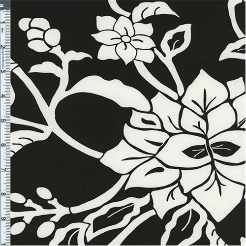 Black/White Crewel Floral Print Cotton Twill Decorating Fabric, Fabric Sold By the Yard