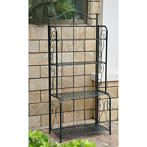 Mandalay 4-Tier Wrought Iron Outdoor Folding Bakers Rack MANY COLORS!