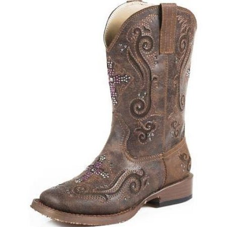 Roper Western Boots Girl Cross Crystal Inlay Brown 09-018-1901-0098 BR