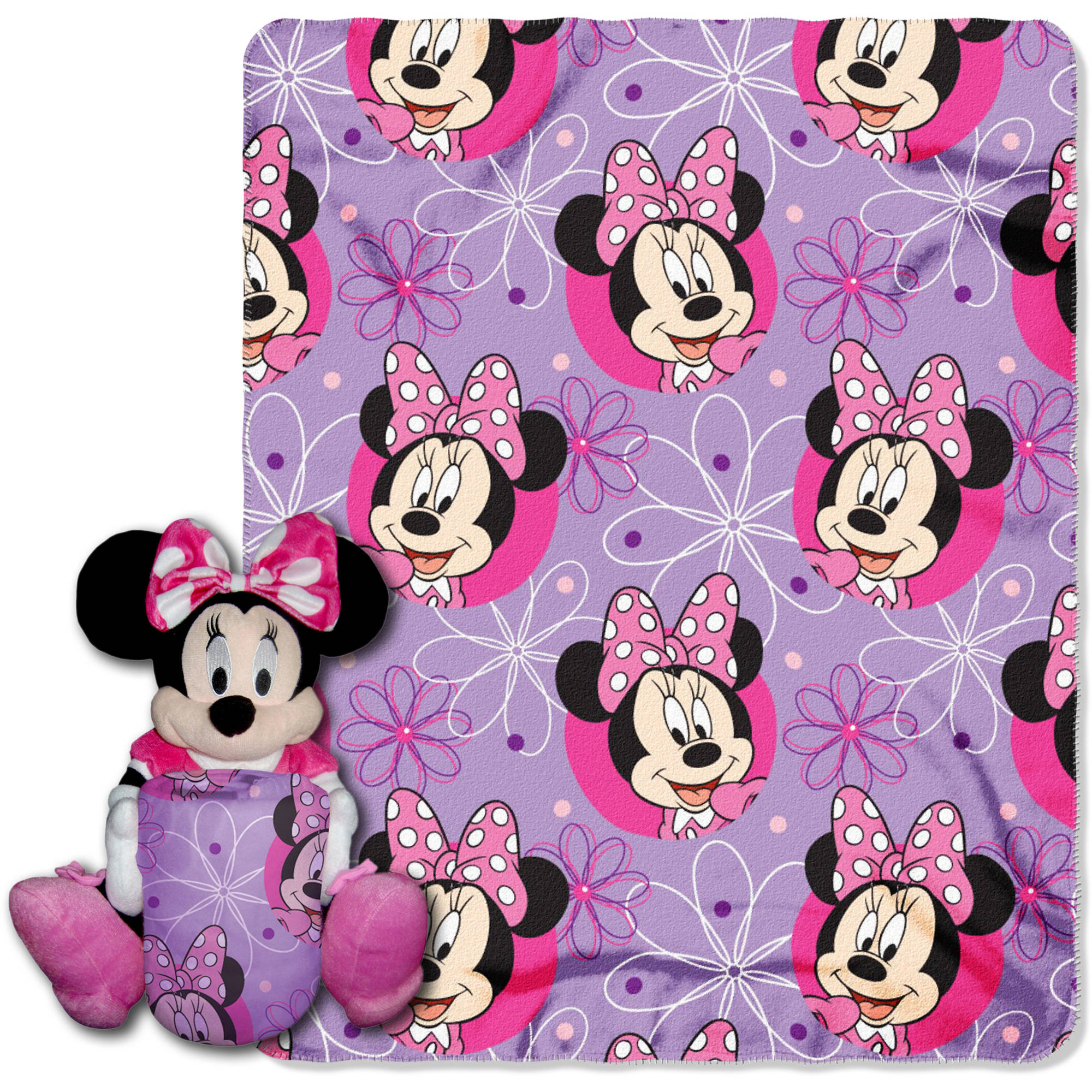 Disneys Minnie Mouse, Minnie Bowtique Minnie Hugger Character Pillow and 40x 50 Fleece Throw Set