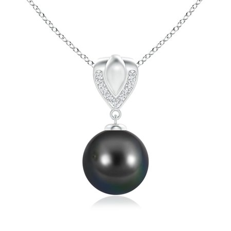 Mother's Day Jewelry - Tahitian Cultured Pearl Drop Pendant with Ornate Bale in 14K White Gold (10mm Tahitian Cultured Pearl) - SP1001THPRD-WG-AA-10 ()