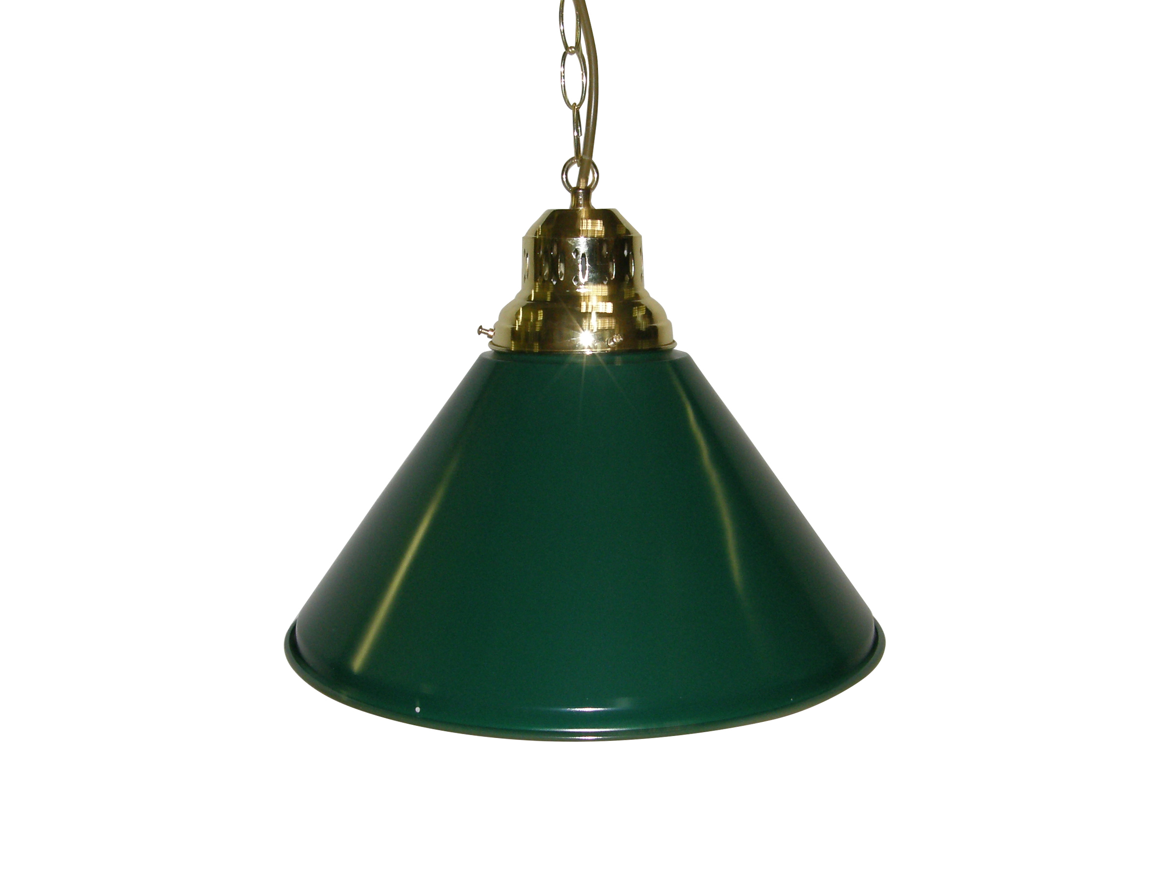 Game Room- Bar Billiard Pool Table Light Pendant Brass W Metal Green Shade by