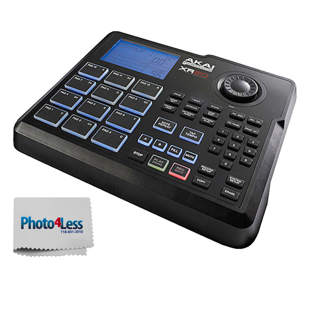 Akai Professional XR20 | Beat Production Station Drum Machine with 12 Trigger Pads, Note Repeat, and 700 Sounds + Bonus Photo4less Cleaning Cloth!